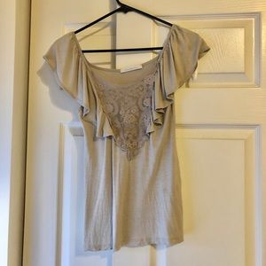 Charlotte Russe Short Sleeve Lace Top